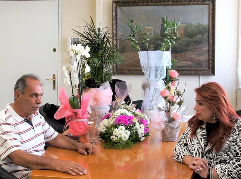 Η Δήμαρχος Νέας Ιωνίας, κ. Δέσποινα Θωμαΐδου στη συνάντησή της με τον Πρόεδρο της Π.Ε.Δ.Α. κ. Γιώργο Ιωακειμίδη