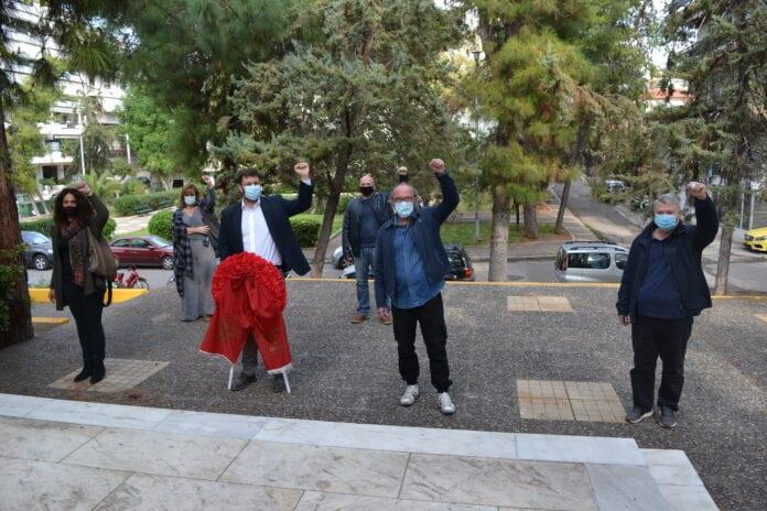 Ο ΣΥΡΙΖΑ τίμησε το Πολυτεχνείο '73 με κατάθεση στεφάνου στο Μνημείο του Μπλόκου Καλογρέζας